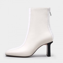 Jady Rose Patchwork Mid Heel White Boots (20DR10815)