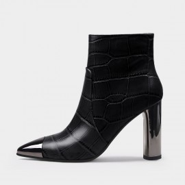 Jady Rose Sophisticated Reptile High Heel Black Boots (20DR10817)