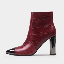 Jady Rose Sophisticated Reptile High Heel Wine Boots (20DR10817)