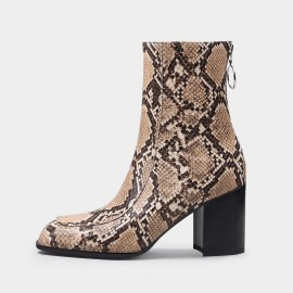 Jady Rose Simple High Heel Mid-Calf Snake Boots (20DR10820)