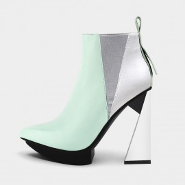 Jady Rose Take It To New Heights White Heel Green Boots (20DR10822)