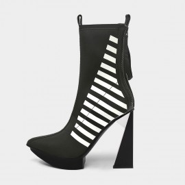 Jady Rose Playful Stripes Black Boots (20DR10825)