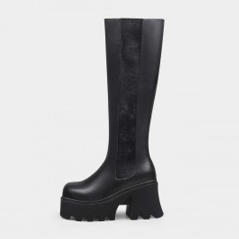 Jady Rose Hair-On Pattern Black Knee-High Boots (20DR10835)