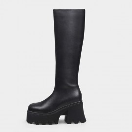 Jady Rose Simplistic Slim Black Knee-High Boots (20DR10836)
