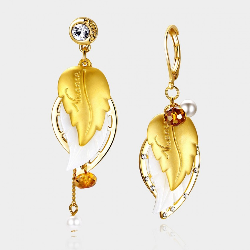 Caromay Fragrant Maple Leaf Champagne Gold Earrings (E0021)