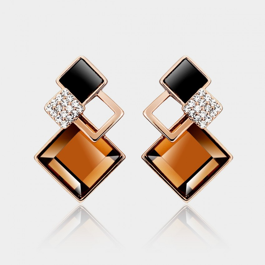 Caromay Rhombus Crystal Champagne Gold Earrings (E0102)