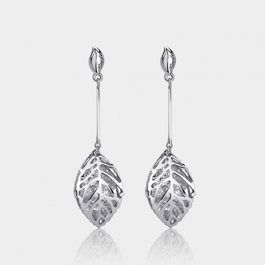 Caromay Tassle Maple Leaf Silver Earrings (E0186)