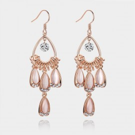 Caromay Peacock Plumes Rose Gold Earrings (E0211)