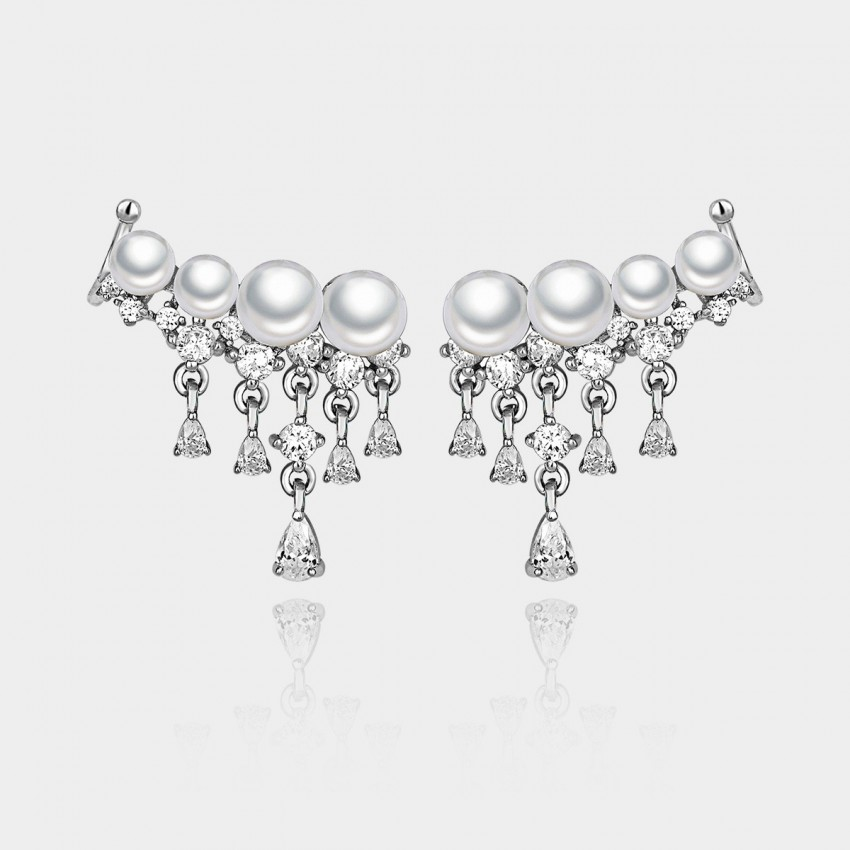 Caromay Pearl Fall Silver Earrings (E0388)