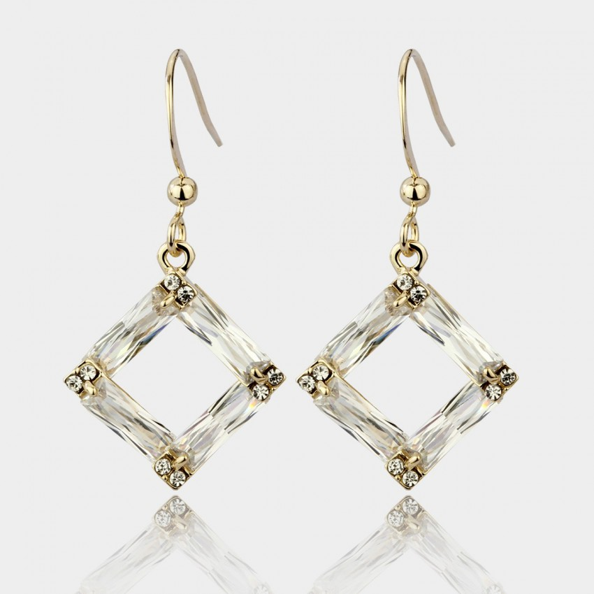 Caromay Crystal Frame Rose Gold Earrings (E0538)