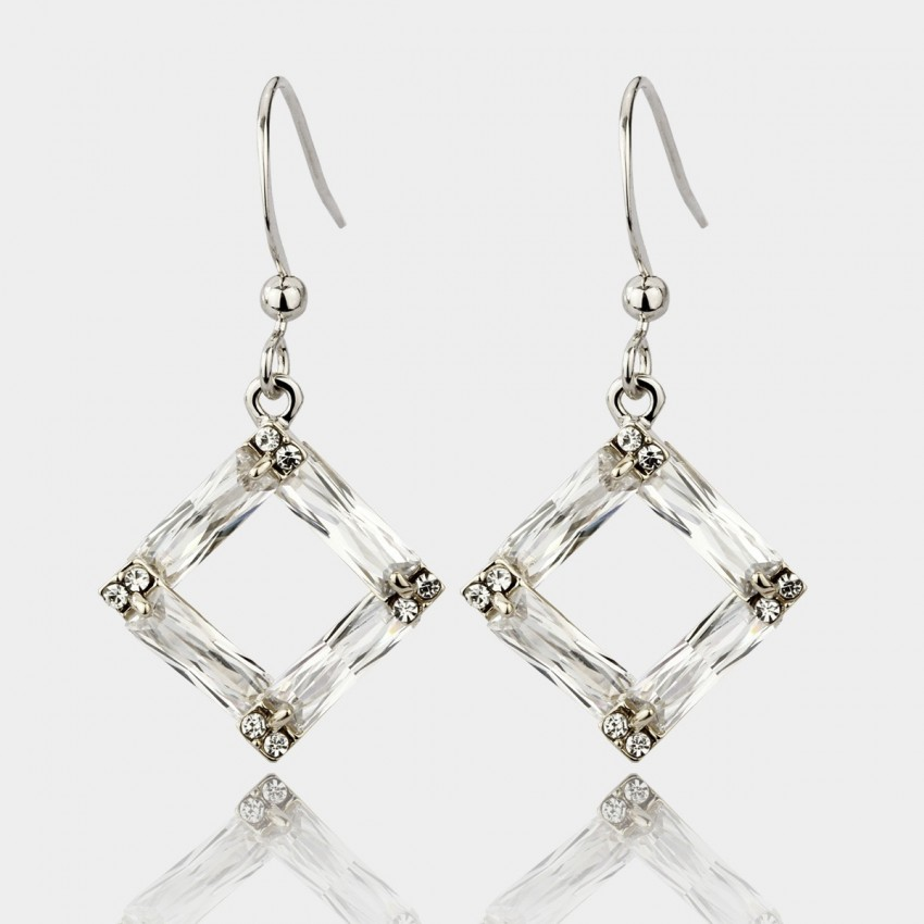 Caromay Crystal Frame Silver Earrings (E0538)