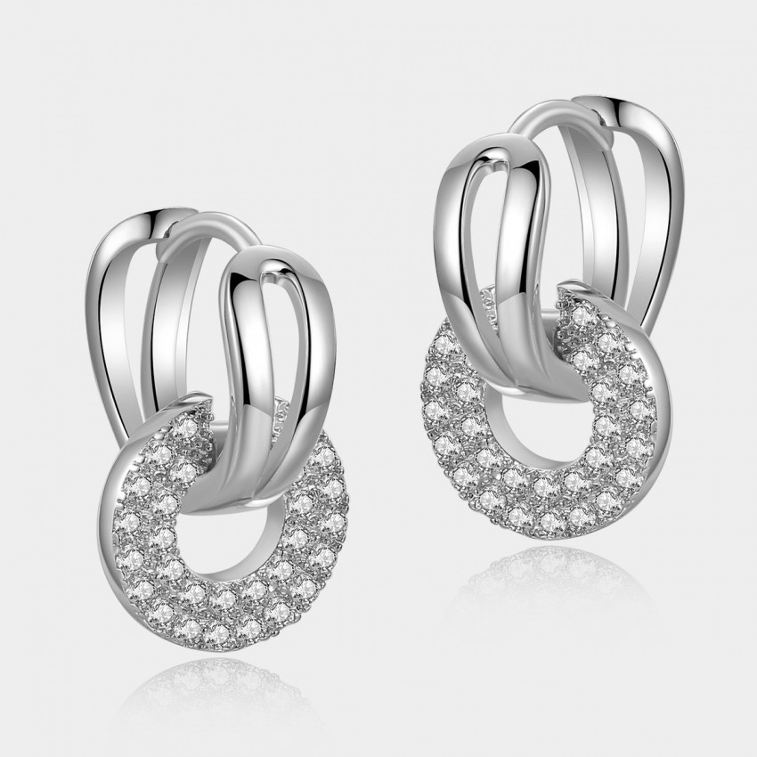 Caromay Gripping Love Silver Round Earrings (E0565)