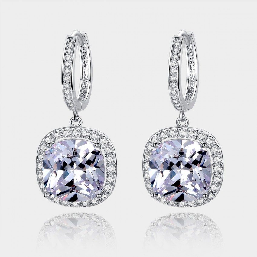 Caromay Crystal Plate Silver Earrings (E0568)