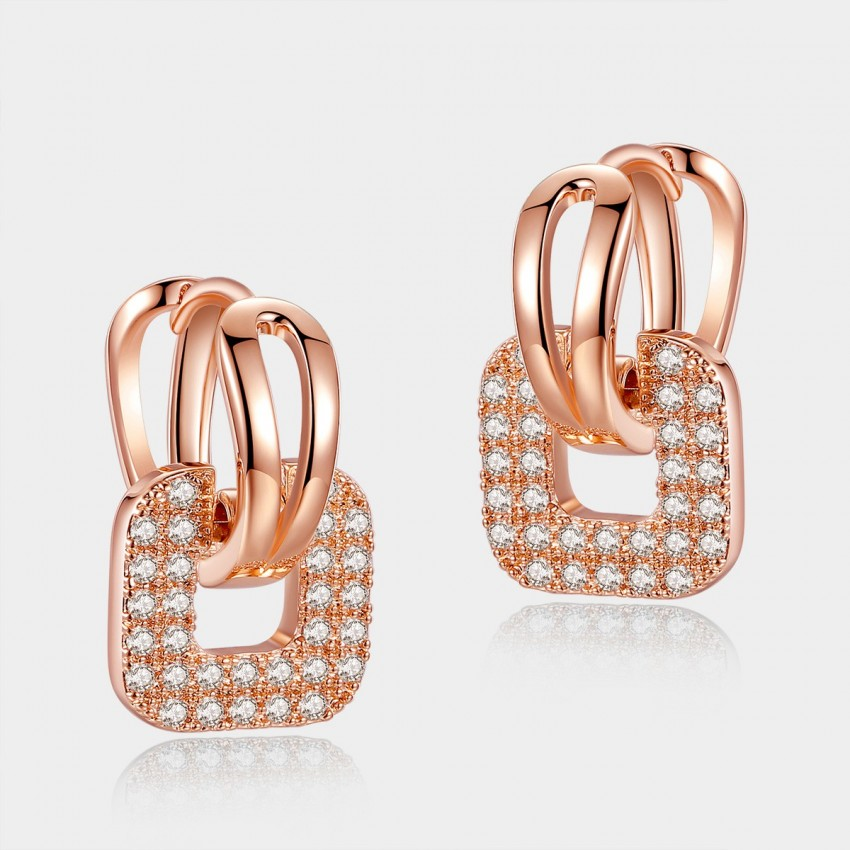 Caromay Gripping Love Rose Gold Square Earrings (E0589)