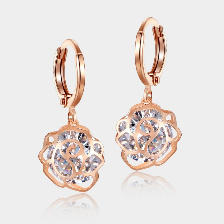 Caromay Hollow Flower Rose Gold Earrings (E0622)