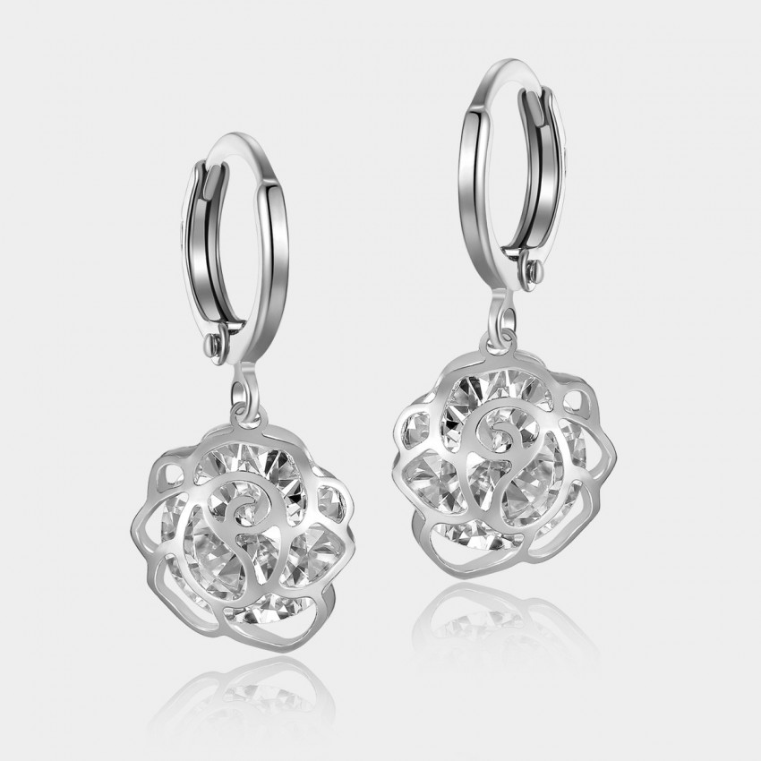 Caromay Hollow Flower Silver Earrings (E0622)
