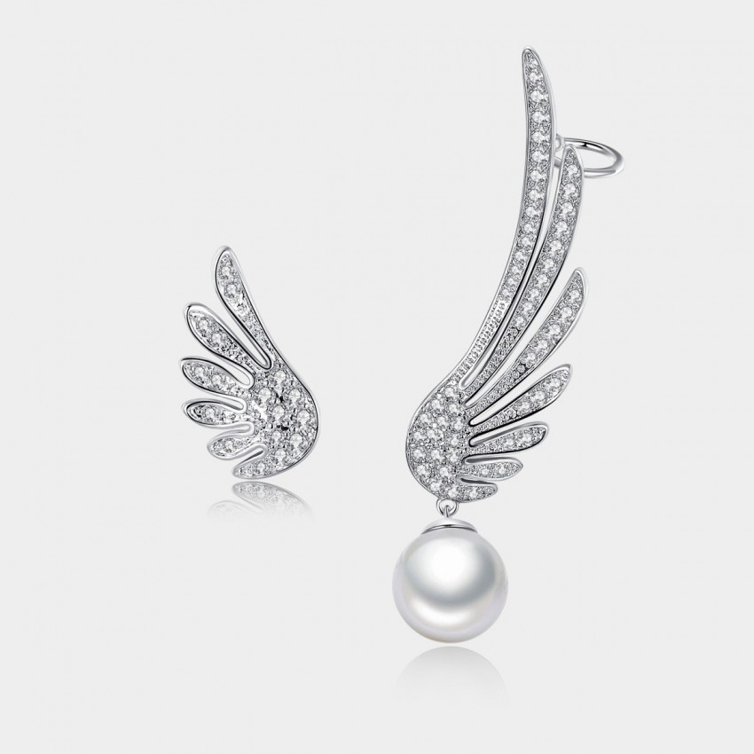 Caromay Uneven Angel Wings Silver Earrings (E0649)