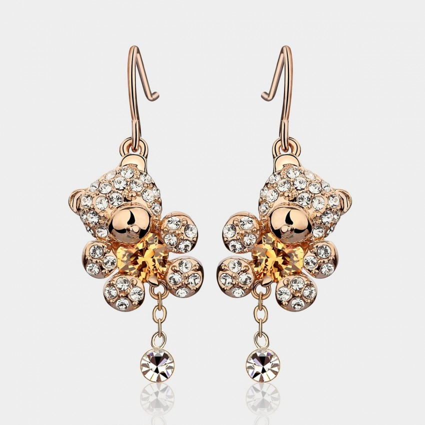 Caromay Cute Bear Champagne Gold Earrings E1006