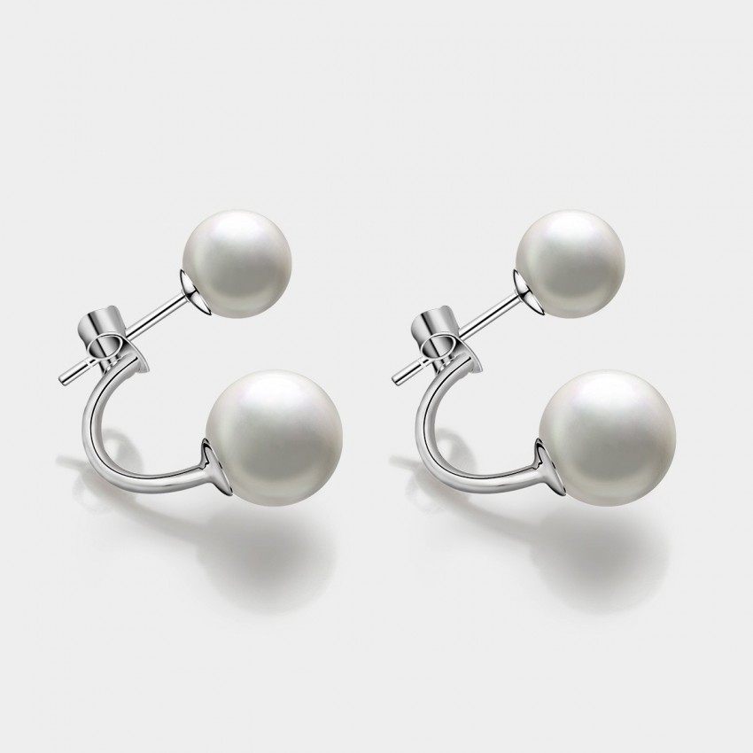 Caromay Crescent Pearl Silver Earrings (E1037)