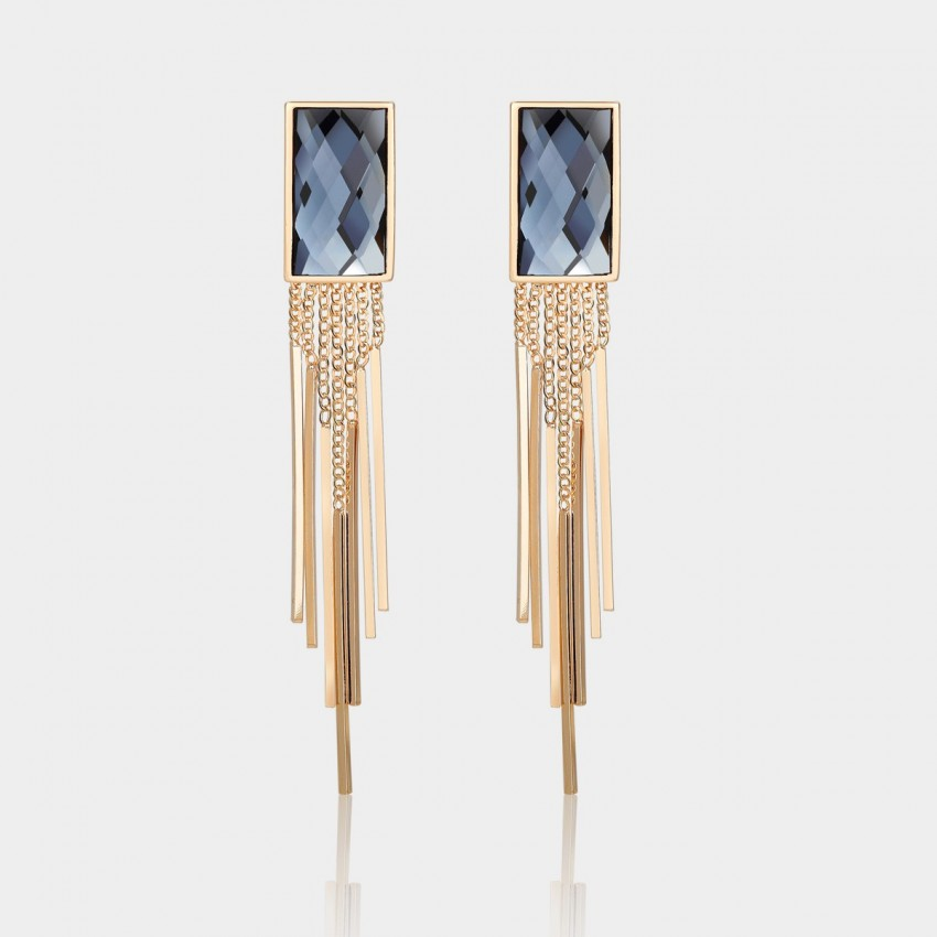 Caromay Tassle Crystal Blue Earrings (E1253)