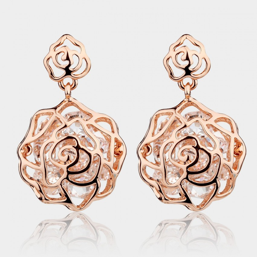 Caromay Crystal Rose Rose Gold Earrings (E3780)