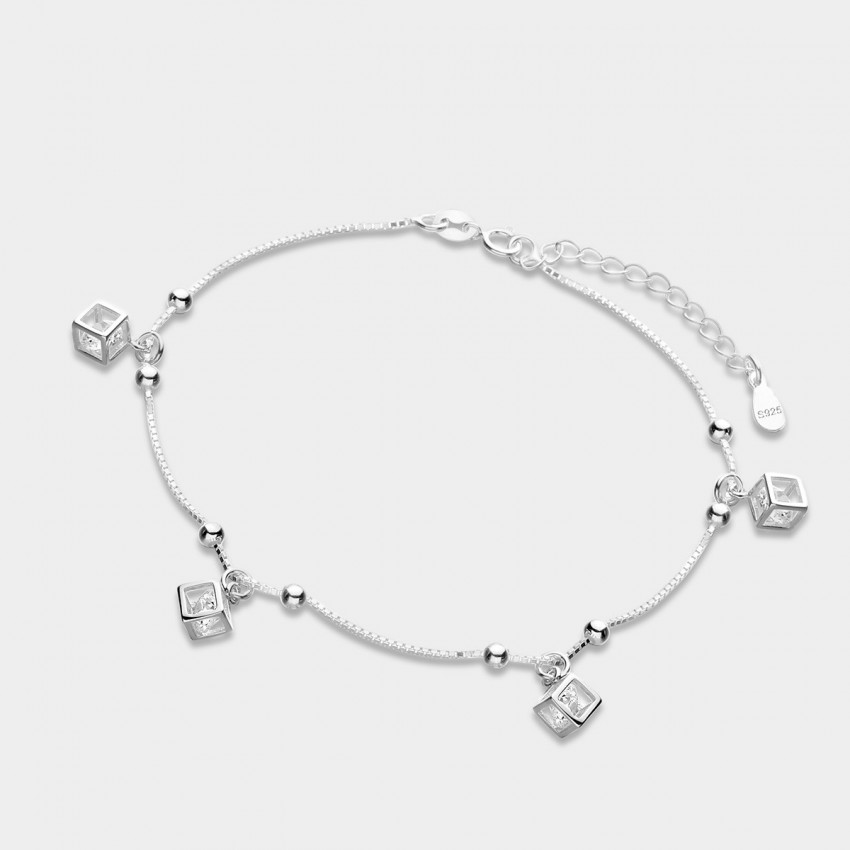Caromay Happy Dice Silver Anklet (H0071)