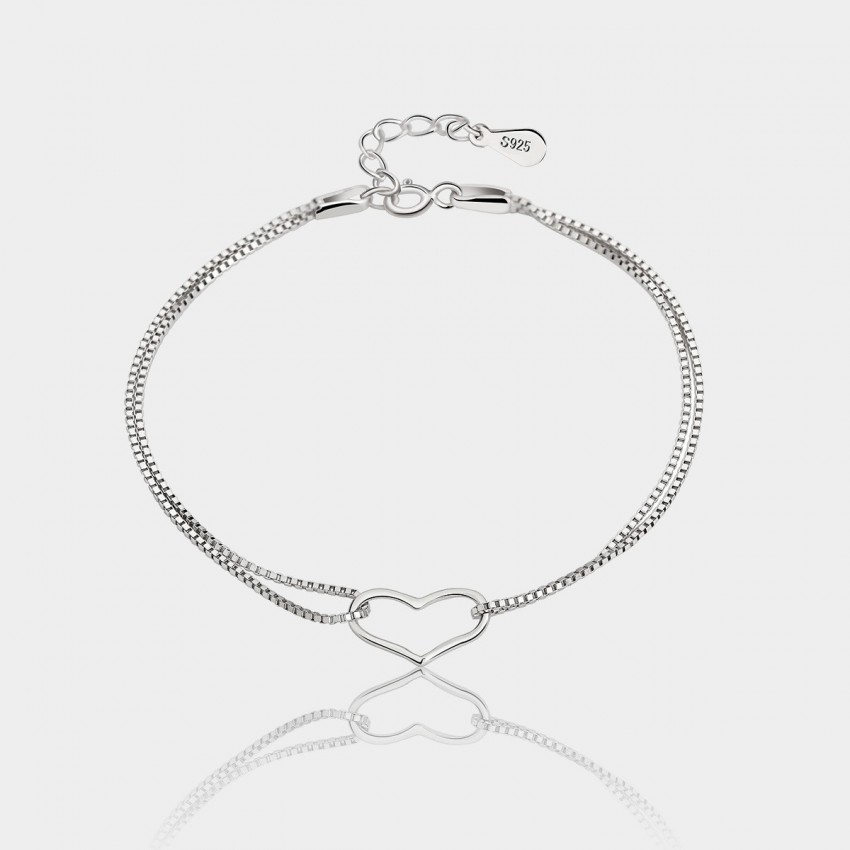 Caromay Simple Heart Silver Bracelet (H0420)