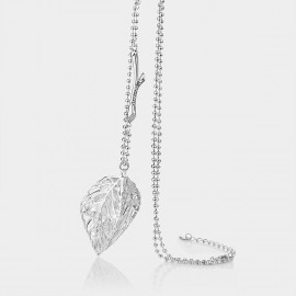Caromay Hollow Maple Leaf Silver Long Chain (X0331)