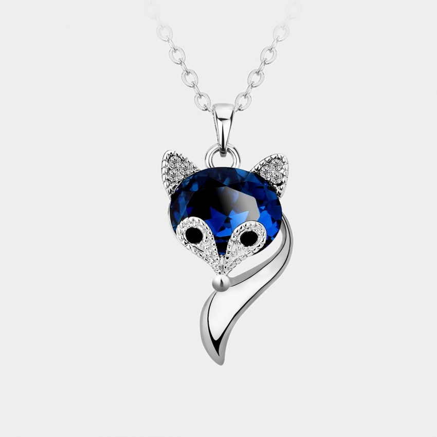 Caromay Crystal Fox Silver Necklace (X0481)