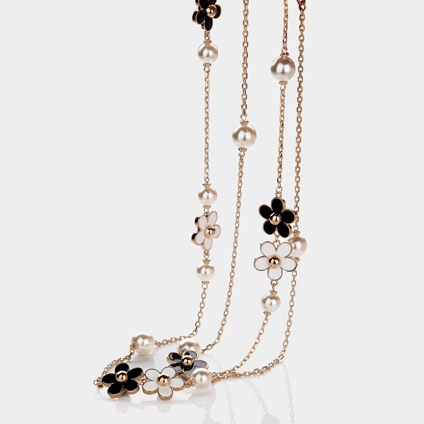 Caromay Daisy Pearl Champagne Gold Long Chain (X0928)