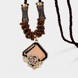 Caromay Ice Flower Champagne Gold Long Chain (X1059)