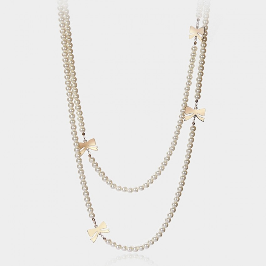 Caromay Ribbon Pearl White Long Chain (X3635)